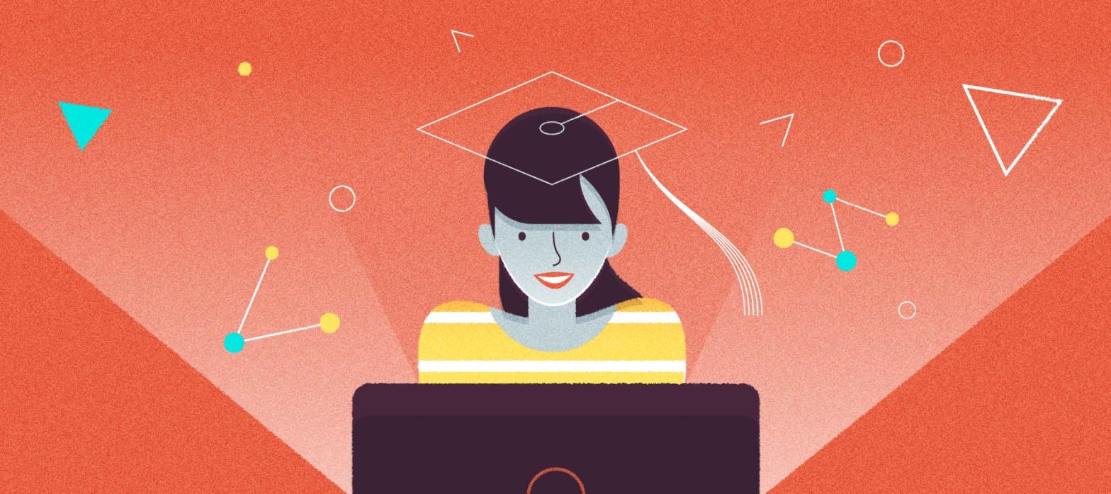 studentessa di fronte al pc dialoga con il chatbot dell'università