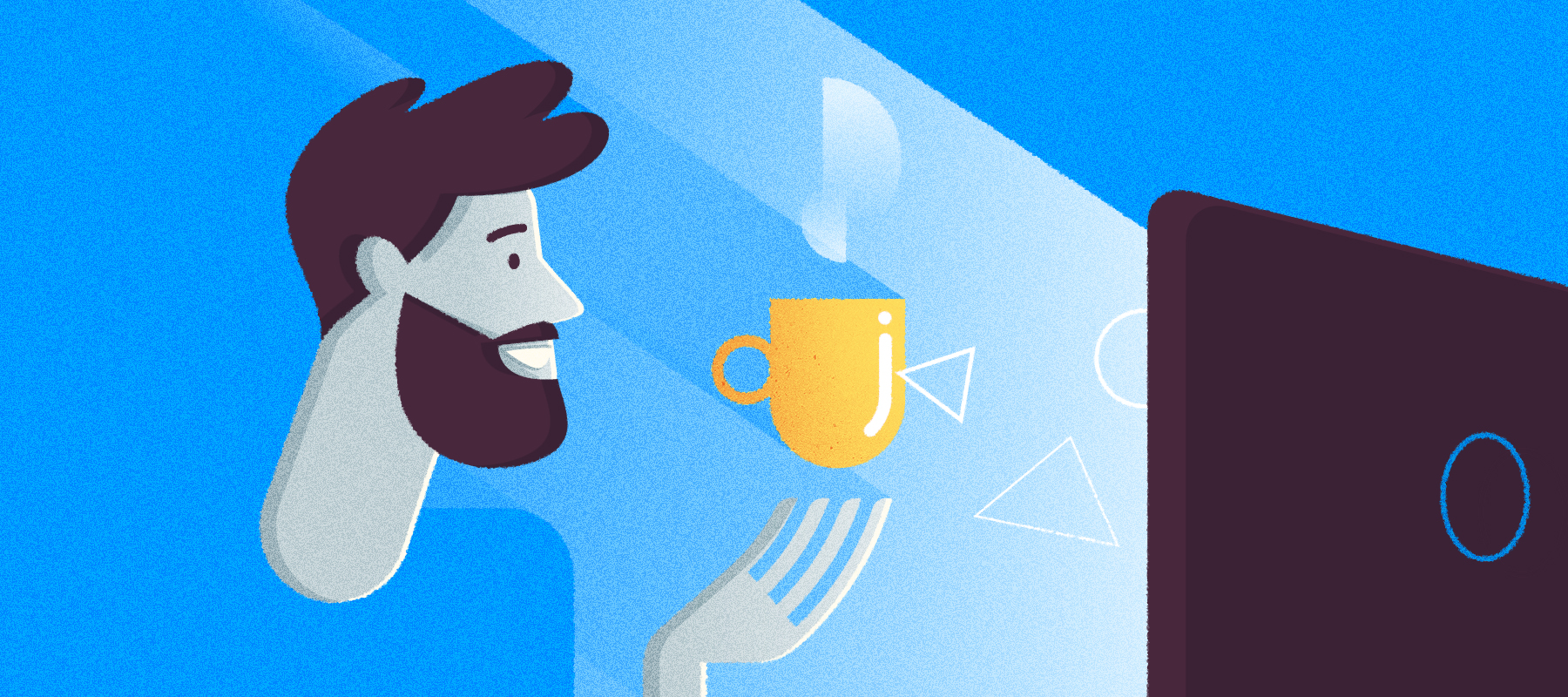 illustrazione di un utente mentre dialoga con il pc