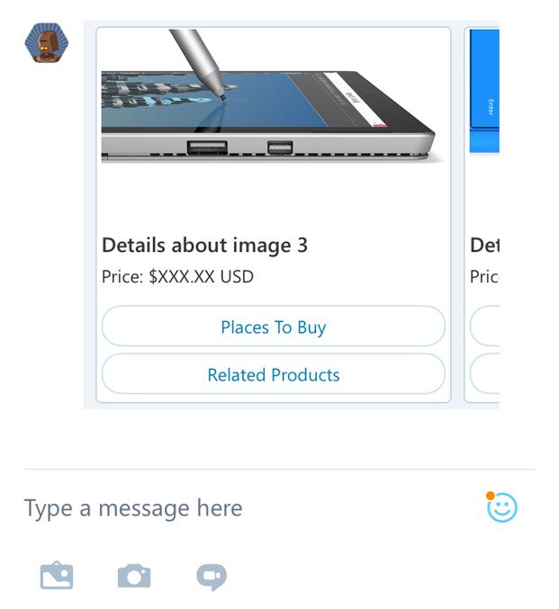 Creare un chatbot: esempio di carousel su Skype