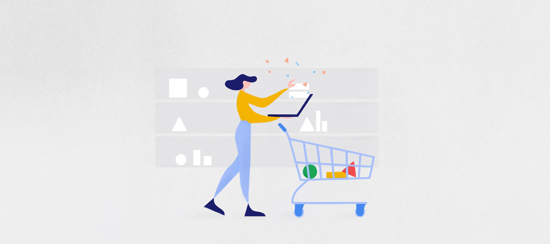 illustrazione raffigurante un'utente con carrello di fronte a un scaffale