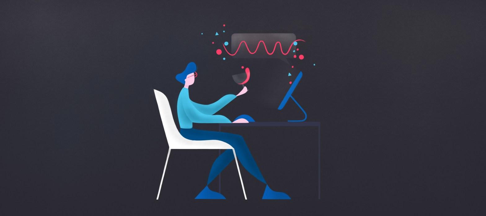 ilòlustrazione di un utente mentre interagisce con un assistente virtuale intelligente per la ricerca di un vino online