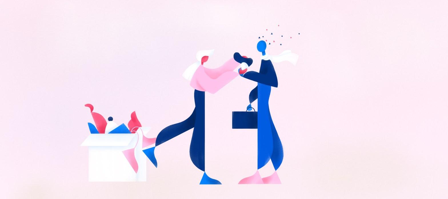 due utenti dialogano in questa illustrazione iconica che rappresenta un'esperienza conversazionale reale