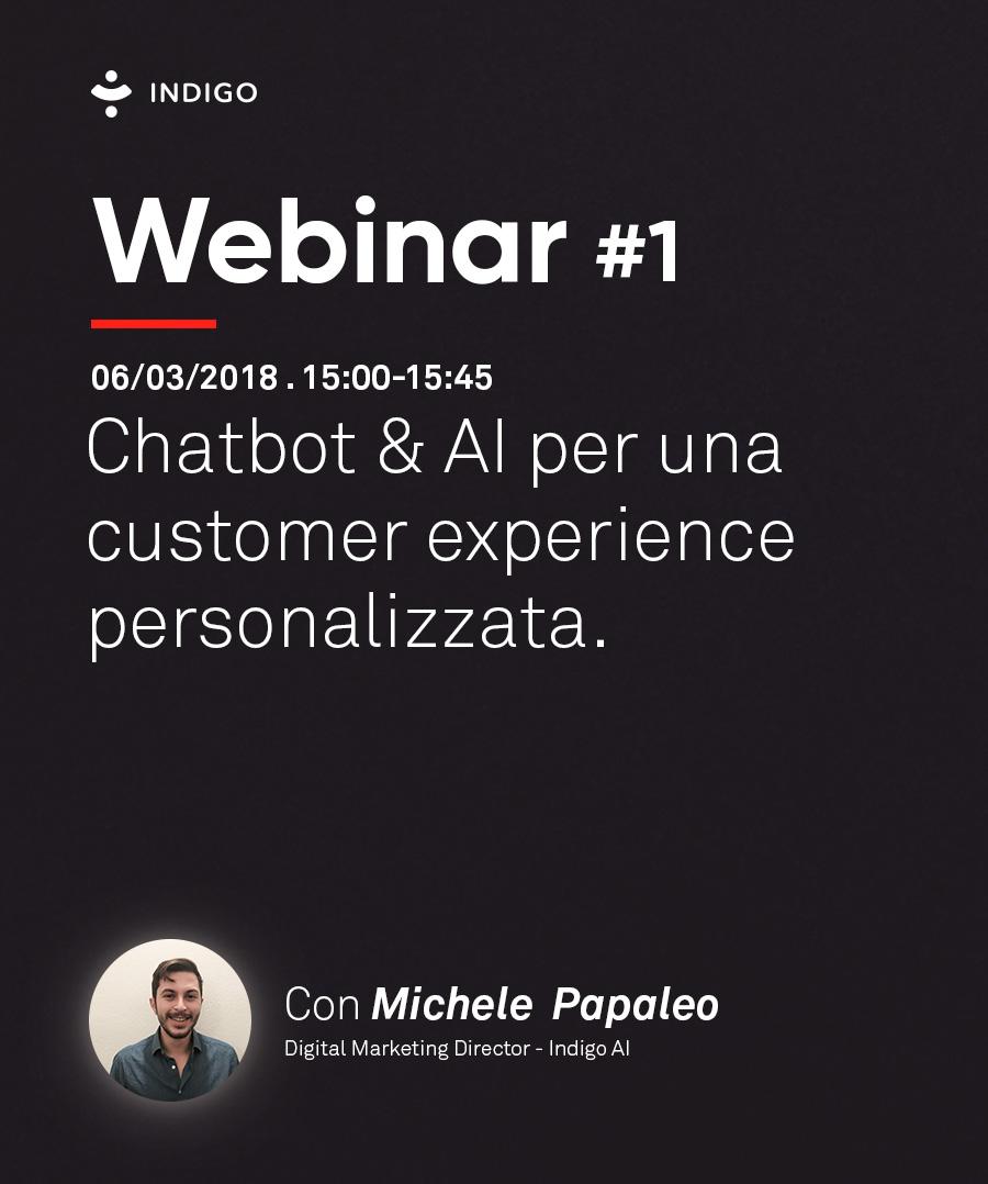webinar su chatbot e AI per una customer experience personaluzzata, tenuto da indigo.ai