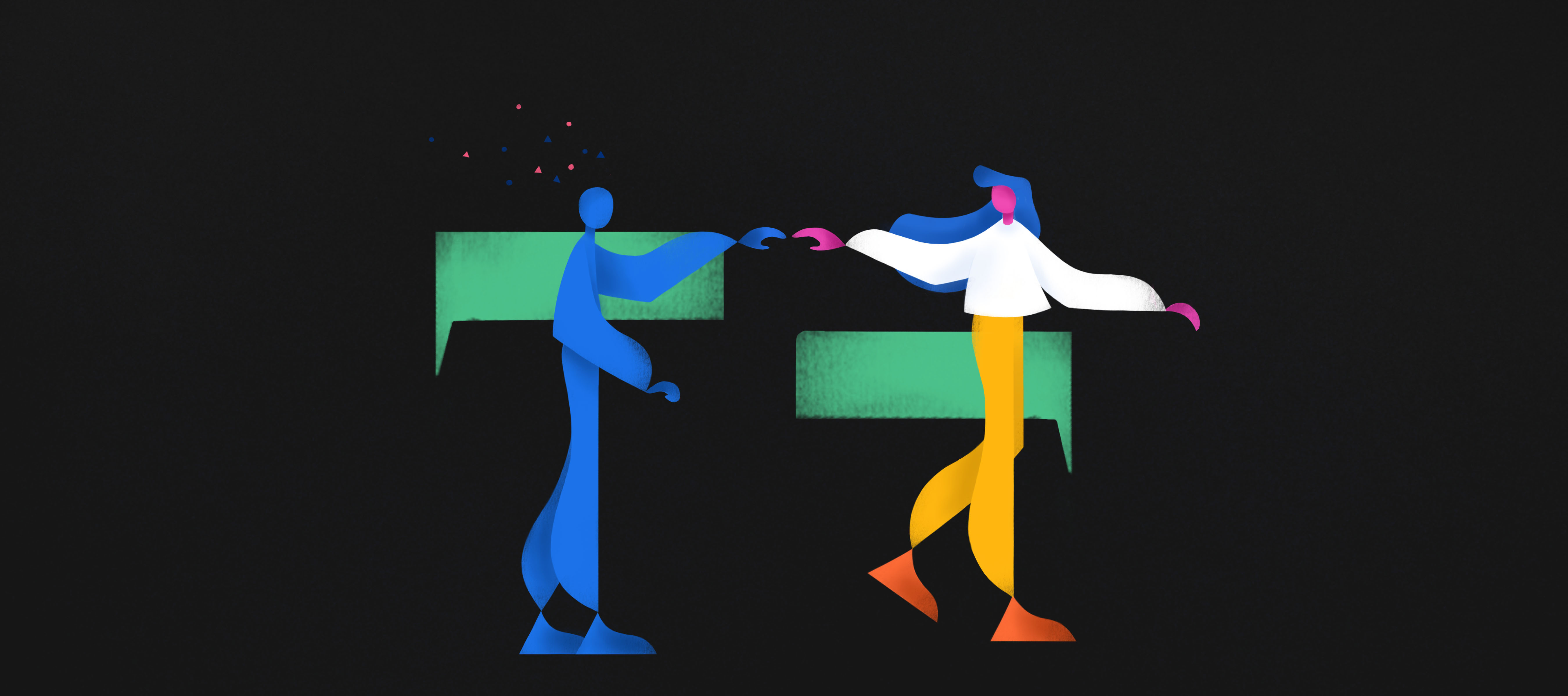 illustrazione raffigurante un'utente mentre dialoga con il chatbot a cui è stato dato un aspetto umanoide