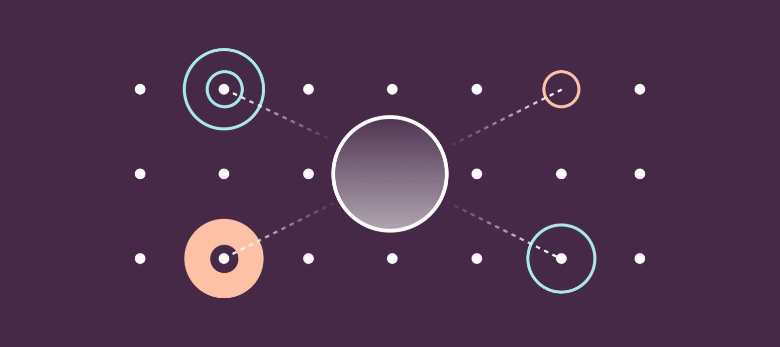 immagine iconica reputazione aziendale, un cerchio centrale unito ai cerchi laterali da linee tratteggiate
